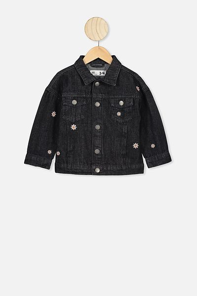 Emmy Spliced Trucker Jacket, BLACK WASH/DAISIES