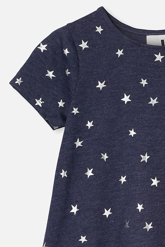 Joss Short Sleeve Dress, NAVY MARLE/STARS