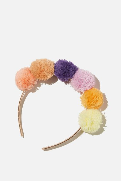 Headband - Novelty, HAPPY COLOUR POM POM