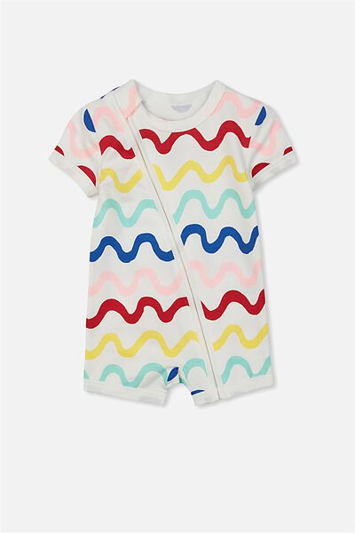 Mini Ss Zip Through Romper, VANILLA/MULTI RAINBOW WAVES