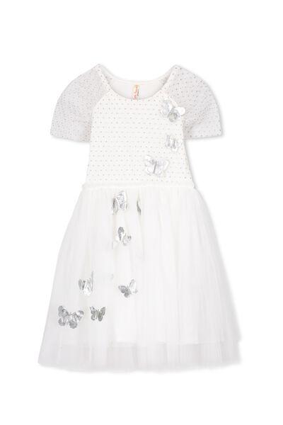 Iris Tulle Dress, VANILLA/BUTTERFLIES