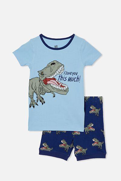 Ted Short Sleeve Pyjama Set, TREX LOVE SKY HAZE