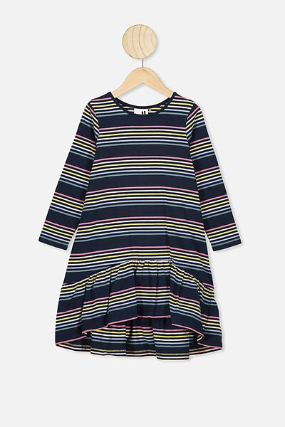 Joss Long Sleeve Dress, INDIAN INK/RAINBOW STRIPE