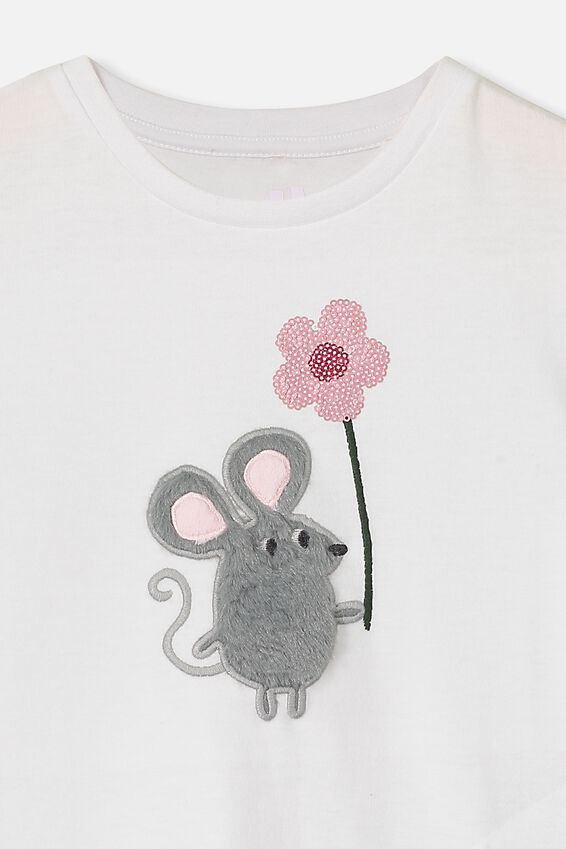 Stevie Ss Embellished Tee, WHITE/LITTLE MOUSE/MAX