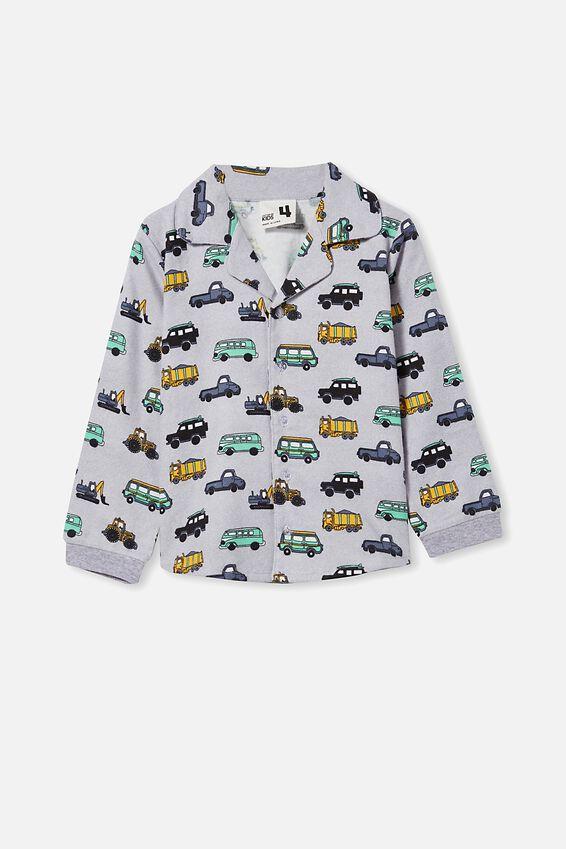 William Long Sleeve Pyjama Set, CARS TRUCKS/SUMMER GREY MARLE