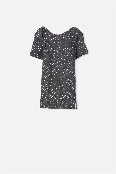 Mini Short Sleeve Rib Tee, GRAPHITE GREY/VANILLA SPOT