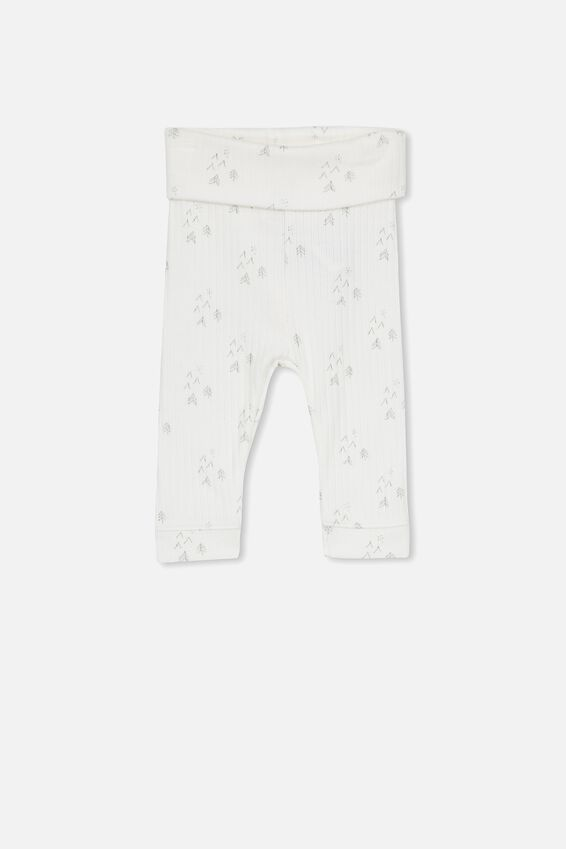 Newborn Legging, MILK/MID GREY FOREST