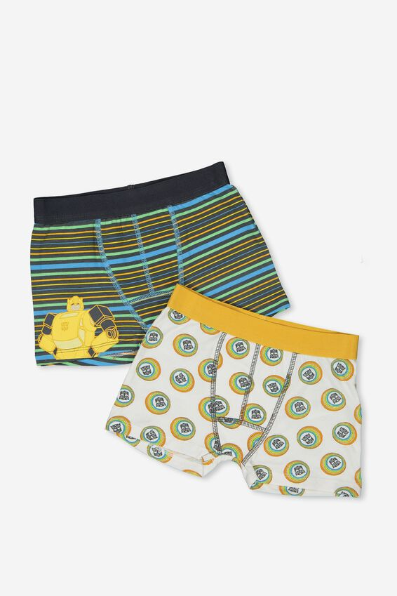 Boys 2Pk Licence Trunks, LCN TRANSFORMER STRIPE MIX