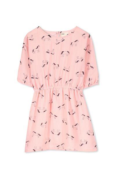Miette Batwing Dress, POWDER PINK/UNICORNS