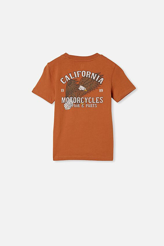 Max Skater Short Sleeve Tee, AMBER BROWN/CALIFORNIA MOTORCYCLES