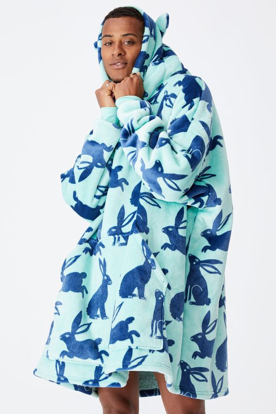 Personalised Snugget Adults Oversized Hoodie, BUNNY SILHOUETTE/MINT BREEZE