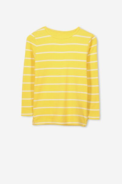 Jessie Crew Long Sleeve Tee, SUNSET YELLOW/VANILLA