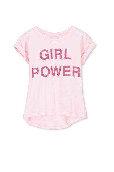 Penelope Short Sleeve Roll Up Tee, PASTEL PINK/GIRL POWER