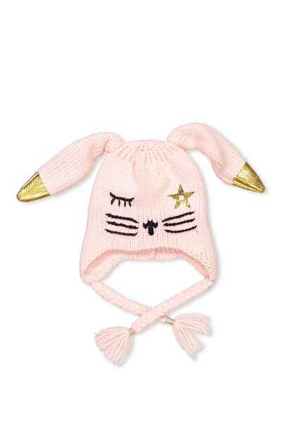 Luxe Character Beanie, PINK BUNNY