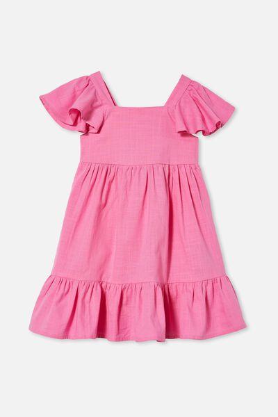 Cady Short Sleeve Dress, PINK GERBERA