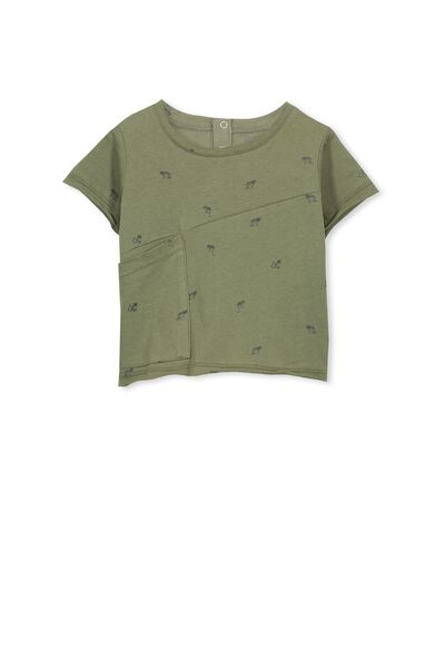 Nicky Ss Slouchy Pocket Tee, CLIVE GREEN/LITTLE LEOPARDS
