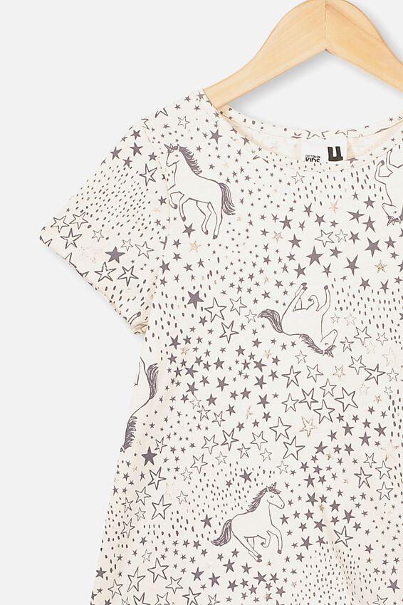 Joss Short Sleeve Dress, DARK VANILLA/STARRY UNICORN
