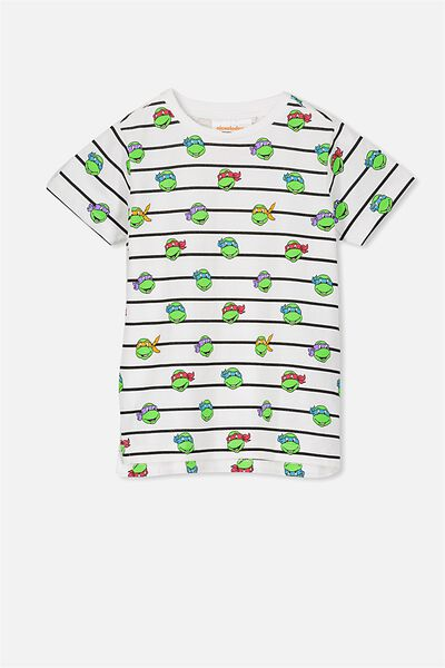 Short Sleeve License Tee, BLACK STRIPE/TMNT YARDAGE