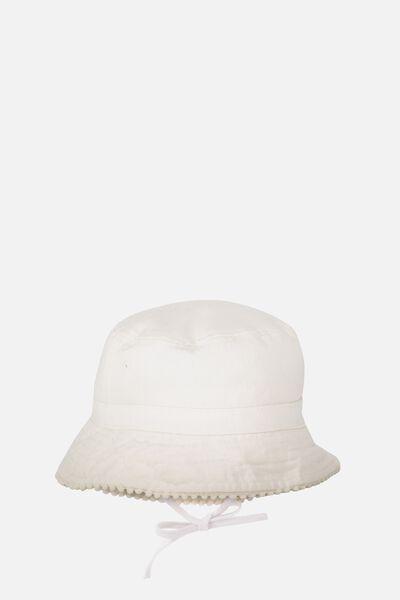 Baby Bucket Hat, VANILLA/POM POM