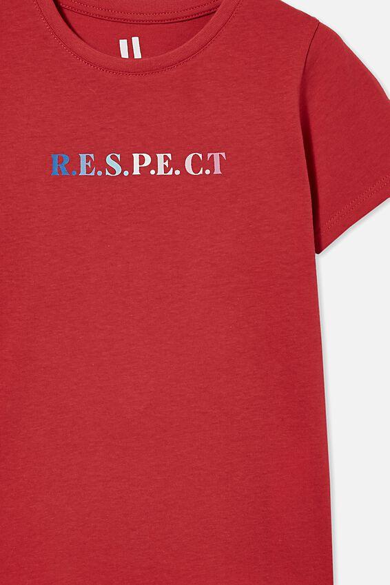 Penelope Short Sleeve Tee, LUCKY RED/RESPECT