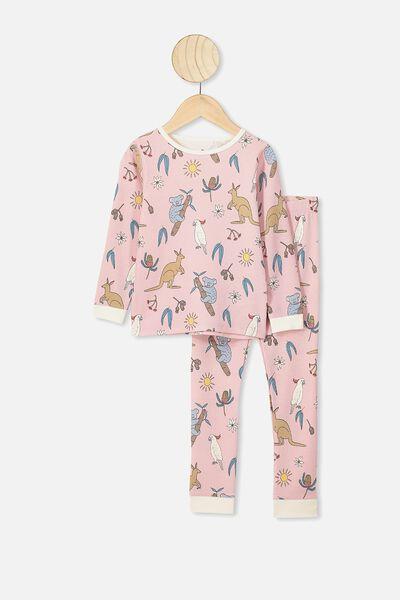 Jessie Long Sleeve Waffle Pajama Set, PEACH WHIP/G AUSTRALIANA