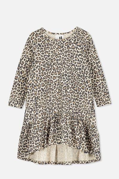 Joss Long Sleeve Dress, NATURAL/LEOPARD