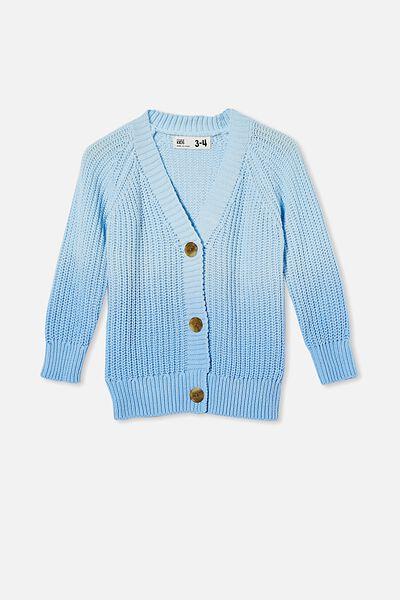 Bobbie Knit Cardigan, BUDGIE BLUE DIP DYE