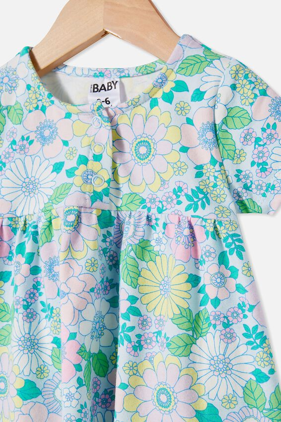 Milly Short Sleeve Dress, FROSTY BLUE/BLUE BIRD RETRO FLORAL
