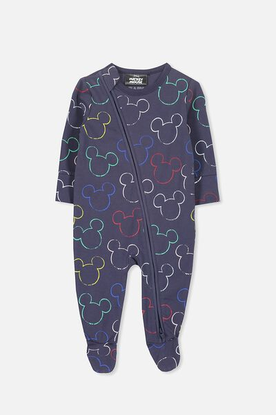 License Zip Through Romper, WASHED NAVY/MICKEY OUTLINE