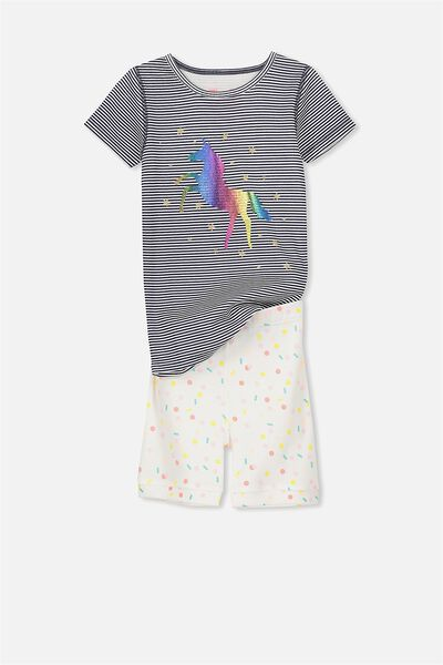 Chloe Short Sleeve Girls Pj Set, UNICORN RAINBOW