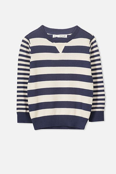 Bayley Knit, WASHED NAVY MULTI STRIPE