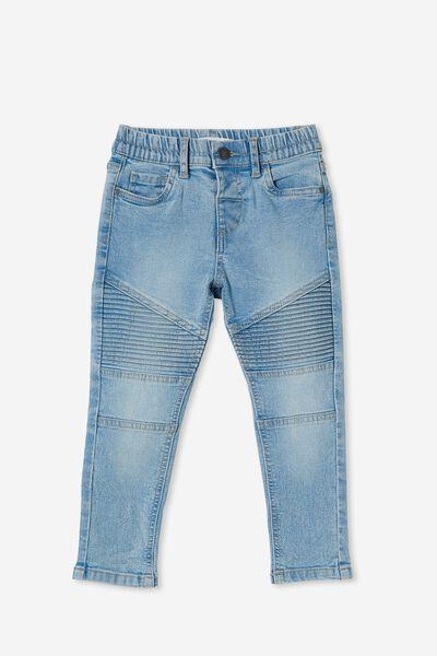Skinny Fit Moto Jean, BYRON MID BLUE
