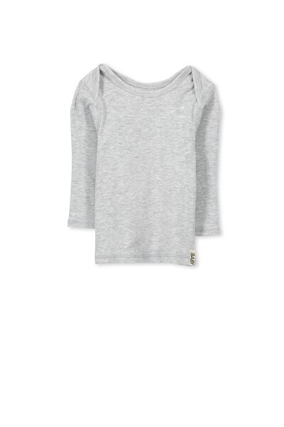 Mini Long Sleeve Rib Tee, CLOUD MARLE