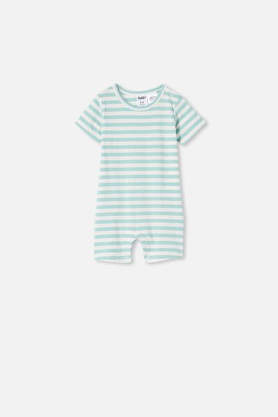 The Short Sleeve Romper, HANNAH STRIPE DUCK EGG/VANILLA