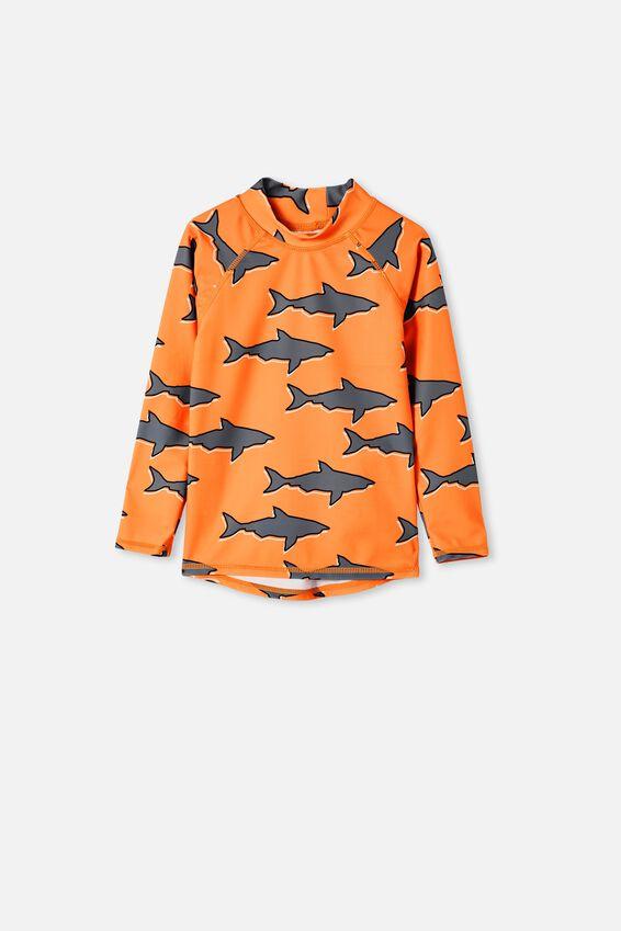 Flynn Long Sleeve Raglan Rash Vest, SHARK/MELON POP
