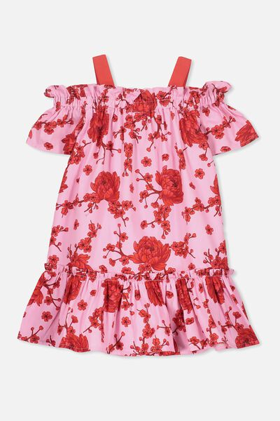 Kendall Cold Shoulder Dress, LILAC SACHET/CHERRY BLOSSOM