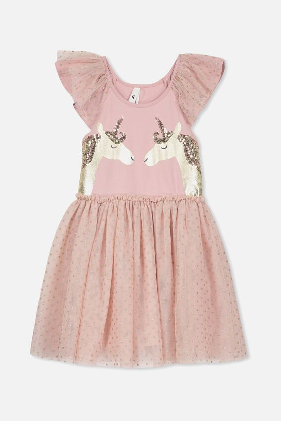 Iris Tulle Dress, DUSTY PINK/UNICORNS