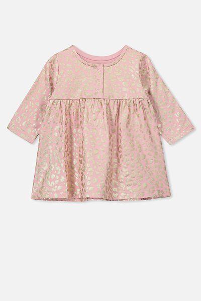 Molly Long Sleeve Dress, SWEET BLUSH/FOIL OCELOT