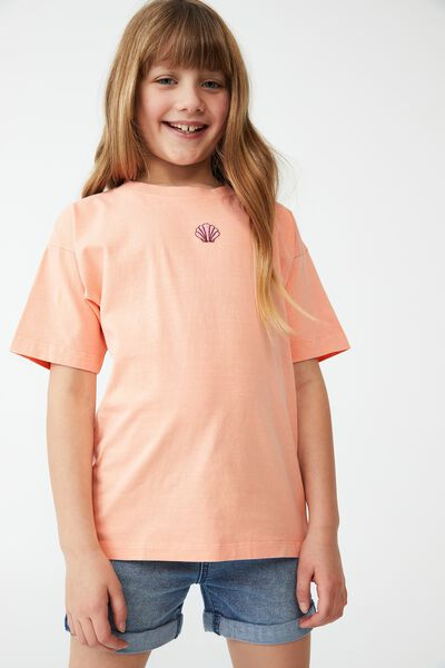 Scout Embellished Short Sleeve Tee, TROPICAL ORANGE/ SHELL EMBROIDERY