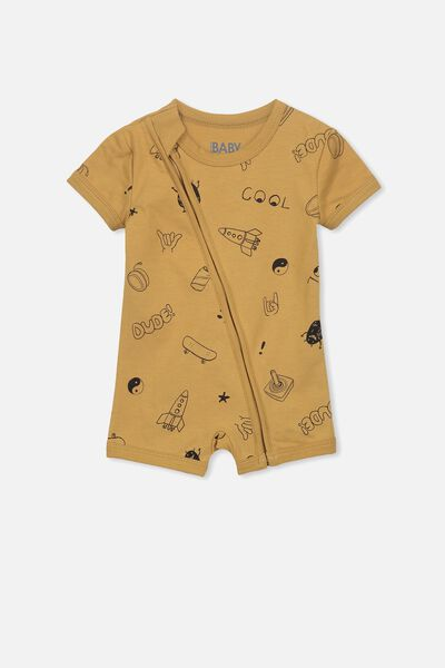 Mini Ss Zip Through Romper, BURNT BISCUIT/COOL ELEMENTS