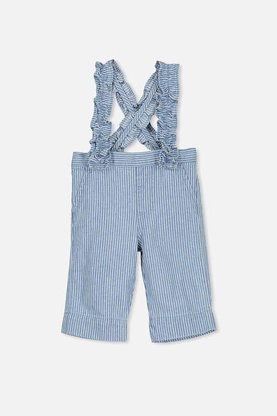 Evie Ruffle Strap Pant, CHAMBRAY/PIN STRIPE