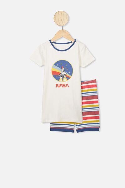 Ted Short Sleeve Pajama Set, LCN NAS VANILLA/NASA SPACESHIP