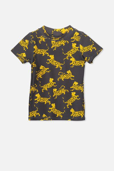 Finley Short Sleeve Rash Vest, GRAPHITE GREY/TIGER
