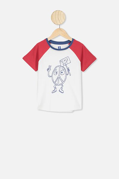 Max Short Sleeve Raglan Tee, LUCKY RED/PEACE OUT