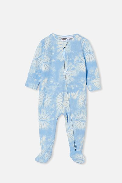 The Long Sleeve Zip Romper, DUSK BLUE TIE DYE