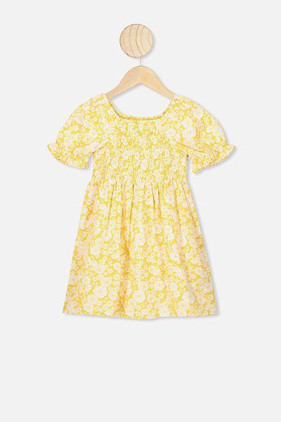 Lillie Short Sleeve Dress, HONEY GOLD/RETRO FLORAL