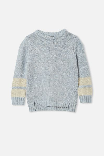 Blair Knit Crew, DUSTY BLUE TWIST/STRIPE