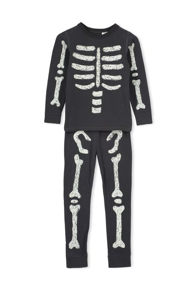 Avery Ls Unisex Pj Set, SKELETON