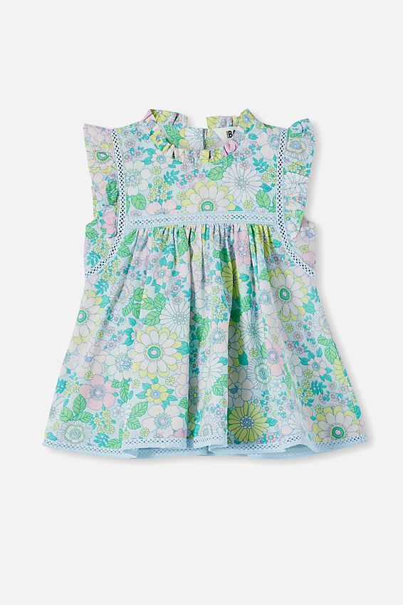 Tess Flutter Sleeve Dress, FROSTY BLUE/BLUE BIRD RETRO FLORAL