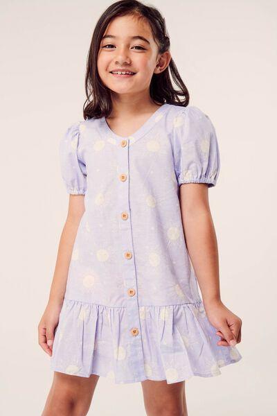 Lulu Short Sleeve Dress, SMOKEY LILAC/SUNNY FACES